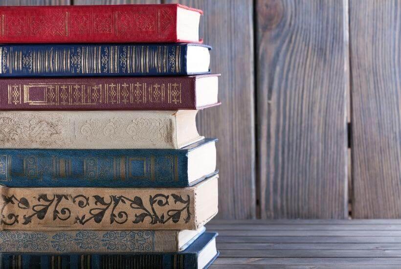 book stack hardcover book club books