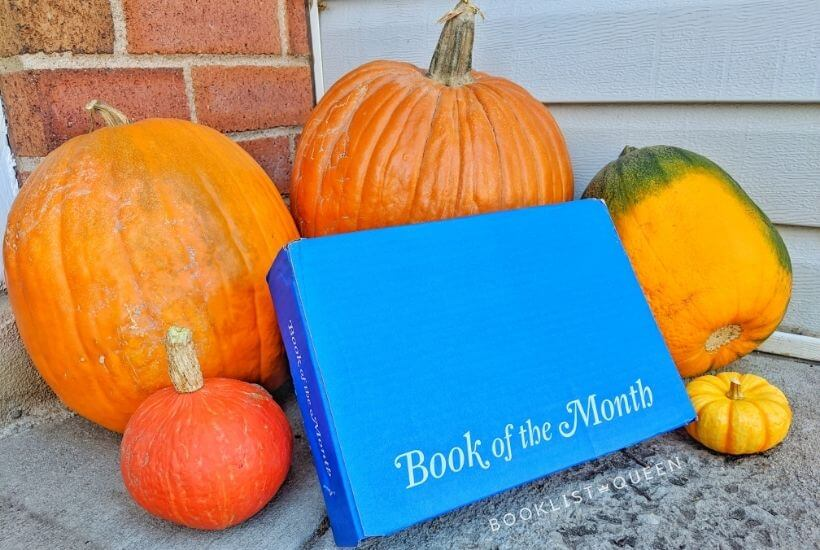book of the month November 2020 - blue box and pumpkins