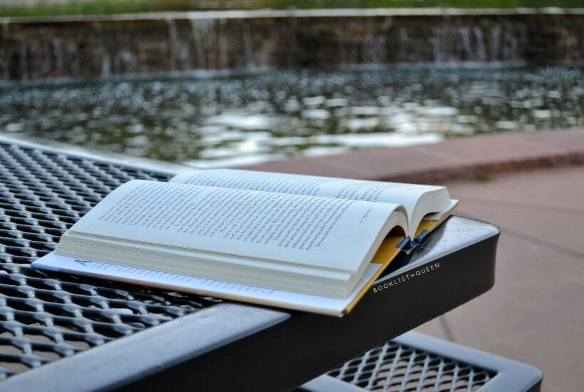 open book, picnic table, reflecting pool