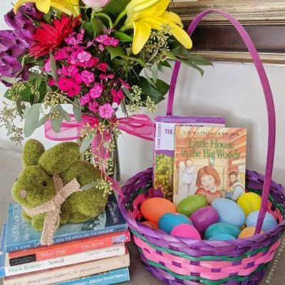Children's classics, easter basket, spring flowers