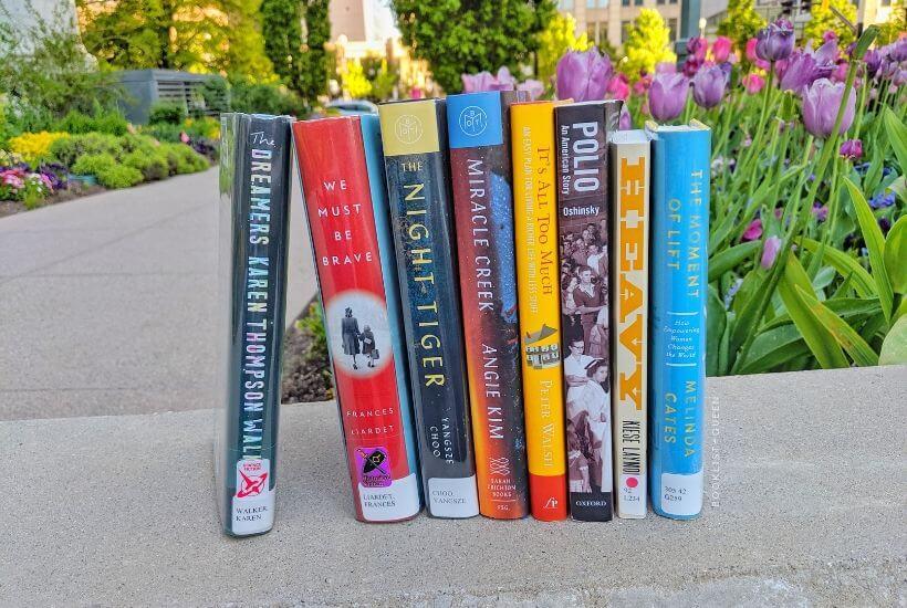 Bookstack among flowers