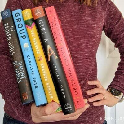 Reading Lately - Rachael holding books - The Broken Girls, Group, The Removed, Girl A, Klara and the Sun