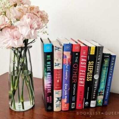 September 2021 reading list with case of pink carnations