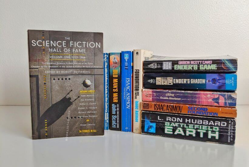 pile of science fiction books
