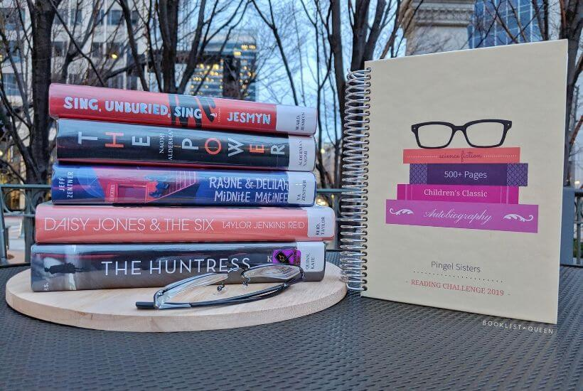 bookstack, glasses, Pingel Sisters Reading Journal from Purple Trail
